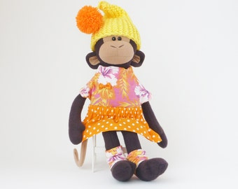 Stuffed monkey, stuffed animal, fabric doll, baby shower gift, nursery decor, kids toys, handmade toys, plush monkey, toy for girl
