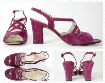 """1970s Chunky Purple High Heel by Amalfi - Purple Suede Sandals - True Vintage - 7N - 9 3/8"""" Length X 2 15/16"""" Width"""