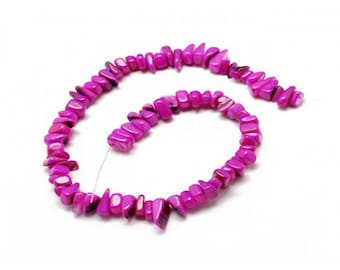 70 fuchsia color mother of Pearl chips beads