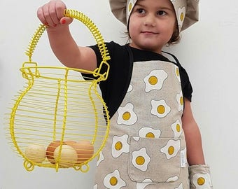 apron - apron for kids crafts - pattern - children apron - yellow - Easter eggs