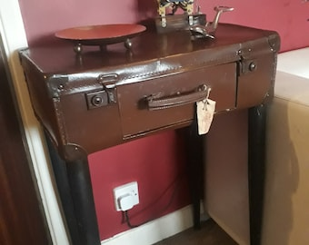 Vintage Suitcase Table with built in drawer - 1930's suitcase upcycled to a stylish functional table with storage.