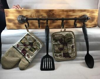 Industrial Metal U0026 Wooden Utensil Kitchen Rack