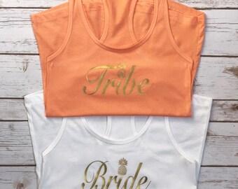 Customized Bridal Party tank set | Wedding day tank set | fully customizable bridal entourage tank top set | bridetribe | Bride Tribe