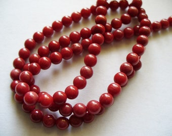 Coral Gemstone Red Round Beads 4mm