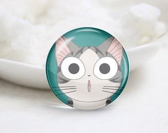 Handmade Round  Cat Photo Glass Cabochons (P3628)