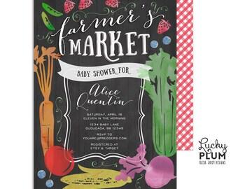 Farmer's Market Baby Shower Invitation / Locally Grown Baby Shower Invitation / Coed Baby Shower Invitation / Couples Chalkboard Vegetable