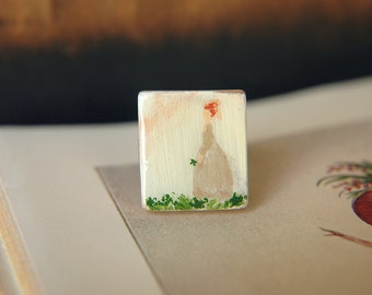 Wearable Art Ring Victorian Painted Lady Scrabble Tile  - Looking for a Four Leaf Clover.