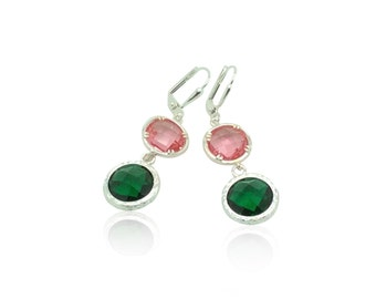 Pink and emerald crystal silver drop earrings, Silver bridal jewellery, Silver jewellery Birthday gifts for her, Emerald leverback earrings