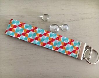 Wristlet Keychain, Geometric Wristlet Keychain, Wristlet, Key Fob, Key Fob Wristlet, Gift for Her, Teacher Gift, Gift for Friend, Orange