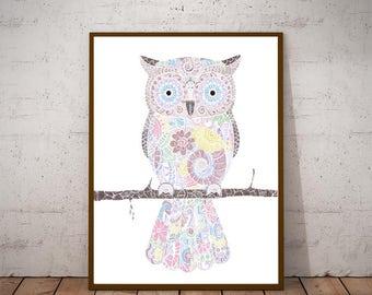 Owl Art Printable - Owl Print - Owl Wall Art Print - Printable Owl Art - Owl Print Art - Spring Decor - Owl Decor - Pastel Colors - Clipart