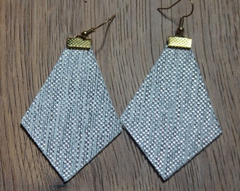 Naked Phoenix Leather Earrings - Textured Silver