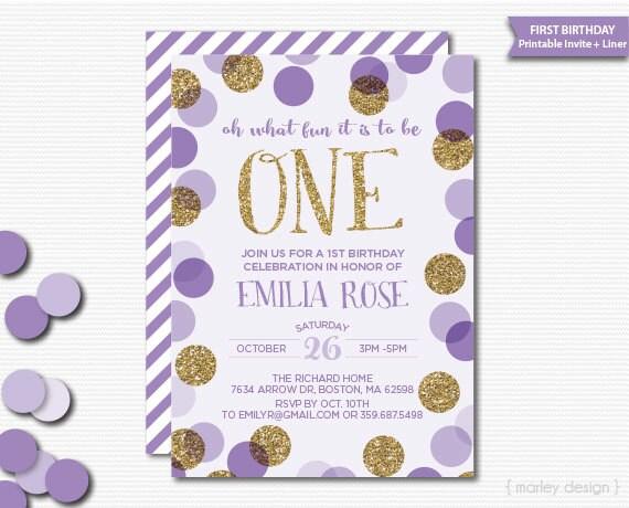 First birthday invitation printable lavender gold glitter like this item filmwisefo Gallery