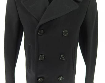 Vintage 60s Navy Peacoat 34R XS USN 8 Button Vietnam Kersey Wool Pea Coat [I20A_4-4]