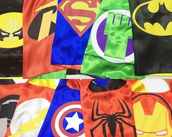 Kids Superhero Capes - Ironman, Spiderman, Captain America, Spidergirl, Hulk, Avengers - Birthday Party Favors