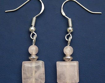 Rose Quartz Gemstone Earrings with Sterling Silver Hooks New Drops LB18