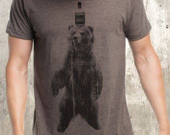 Whiskey Bear - T-Shirt - Screen Printed Men's T-Shirt
