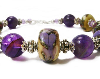 Visions of Violets - Purple and Ivory Lampwork  and Amethyst Stone Chunky Bracelet