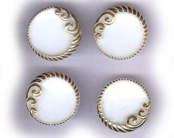 vintage WHITE and GOLD glass buttons western germany schwanda FOUR vintage antique buttons