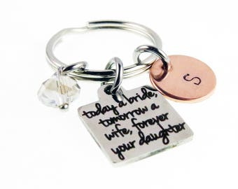 Mother of the Bride Gift - Wedding Day Hand Stamped Key Chain - Personalized Zipper Charm - Mother Daughter Gifts - Key Ring Charm