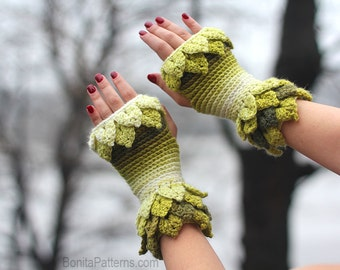 CROCHET PATTERN: Crocodile Dragon Stitch Leafy Fingerless Gloves - Permission to Sell Finished Product