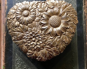 Vintage Gold Tone Jewelry Box with Floral Design Heart Shape