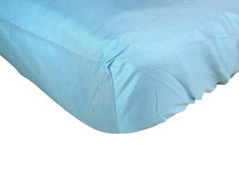 Royal Duke 100% Silk Natural Hypoallergenic Blue Fitted Crib Sheet