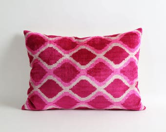 Pink velvet ikat pillow cover, decorative pink ikat pillow, diamond pillow, handwoven pink velvet pillow
