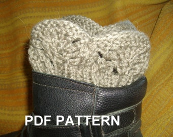 PDF KNITTING PATTERN   Boot cuffs, legwarmer, lace, ribbed