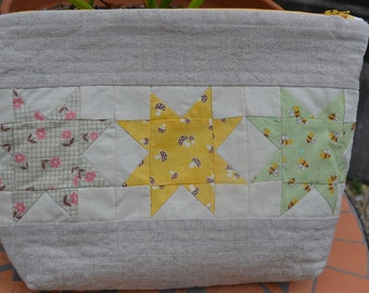 Sewing/Makeup pouch- Linen and Patchwork.