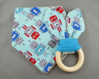 Gift Set - Bandana Dribble Bib and Teething Ring - Robots
