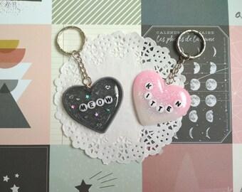 Kitten keychain, Keychain cat resin glitter holographic, bag accessory, purse charm, heart charm, heart resin keychain, cat keychain keyring