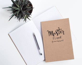 A5 lined notebook - Kraft, lettering, book for Master Plans and Shopping Lists with FREE bookplate