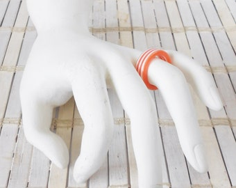 Vintage Striped Lucite Ring, Orange & white, Simple Band ring, Kitschy, Stackable ring, vintage 1970's, Kandy Rave, 90's kid style, Retro