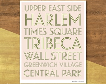 New York Neighborhoods Poster | Digital Download