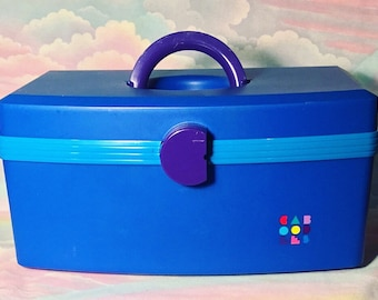 Vintage Blue Caboodles Storage Box
