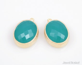 2pcs - Mint Color and Gold Framed Glass Oval Pendent / mint / green / 16k gold plated / glass / oval pendant / 12 x 16mm / SMTMG009-P