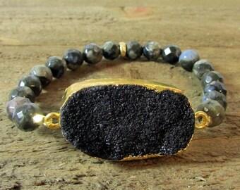 Black Druzy Stretch Bracelet, Black Opal Bracelet, Stackable, Gemstone Bracelet, Bold Bracelets