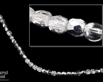3mm Crystal/Silver Fire Polished Bead (50 Pcs)  #FPX140