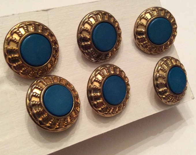 Gold Boarded Blue Center Shank Sewing Button Set of 6