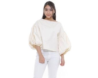 Alayna Blush- Talia Cream Top 3/4 Puffy Sleeve