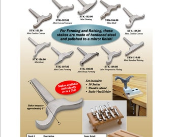 Set of 10 Stakes with Holder and Vise  OR Individual Stakes