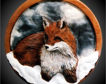 Red Snow Fox Version 1 Wall Sculpture
