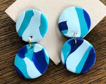Multicolor blended stud statement earrings
