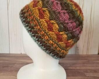 Adult Size Crochet Hat in Desert Sunrise