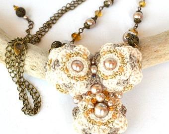 long ivory necklace, beige pearl necklace,unusual beige long necklace, mori girl necklace, neutral boho necklace, crochet necklace