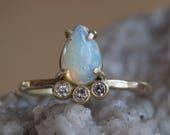 Natural Opal + Diamond Arc Ring