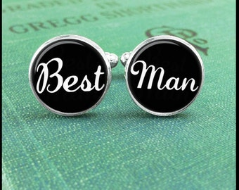 Wedding Pary Gift, Best Man Cufflinks, Custom Cuff Links, Personalized Cufflinks, Wedding Cufflinks,  Best Man Gift, Gift for Best Man