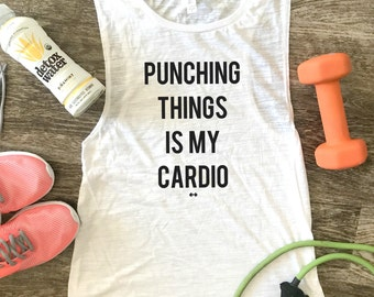Punching Things is my Cardio Funny Workout Tank, Gym Tank, Womens Workout Tank, Funny Tank, Motivation Tank, Boxing Tank, Funny Boxing Tank
