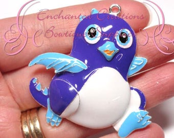 "2"" Purple and Blue Hatchimal Inspired Charm, Chunky Pendant, Keychain, Bookmark, Zipper Pull, Chunky Jewelry, Purse Charm, Planner Charm"