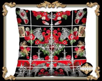 Zebra Throw Pillow Cover in Velveteen, Cherubs Throw Pillow, Red Rose Accent Pillow, Playing Cards Decorative Pillow